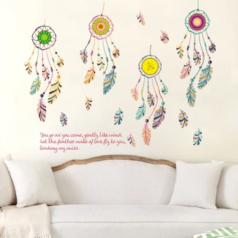 Warm and romantic feather wall stickers living room bedroom wind chimes