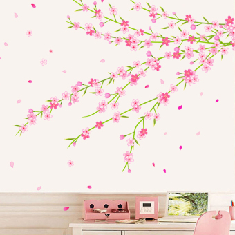 Warm pastoral peach Cherry Flower stickers wall adhesive paper sticker