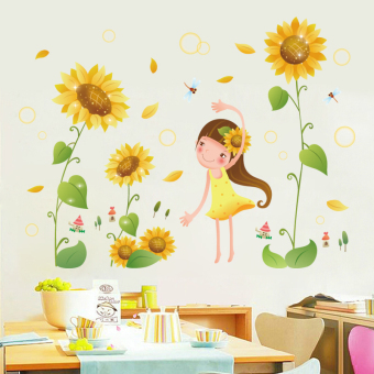 Warm room background wall decorations wall sticker Sunflower