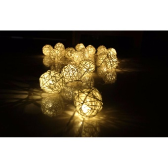 Warm White 1m 10LED Latterns Rattan String Christmas Lights Outdoor For Wedding Natal Garden Holiday Xmas Lamp 3AA Battery - intl - picture 2