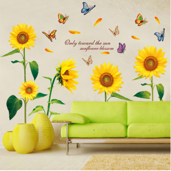 Warm yellow room decorative sunflower wall sticker wall stickers