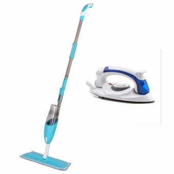 Water Spraying Mop Cleaner(Assorted Color) with Hetian PortableTravel Mini Steam Electric Flat Iron