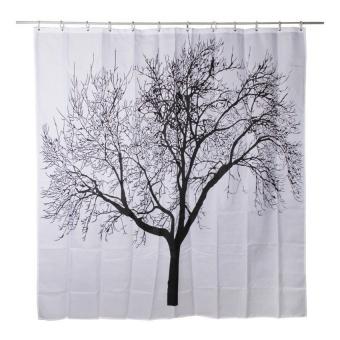 Waterproof Bathroom Shower Curtain (Black and White) (Intl)
