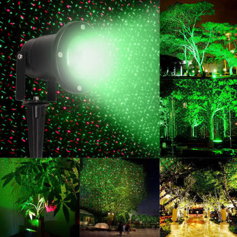 Waterproof Outdoor Landscape Projector R&G Stars Laser Light w/ Remote - intl