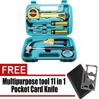 Wawawei 9pcs Professional Hardware Tools Set Accessory Repair HomeTool-Box Kits Case Can Used for Car and Bike with free CampingMultipurpose tool 11 in 1 Multifunction Outdoor Hunting SurvivalCamping Pocket Military Card Knife (Silver)