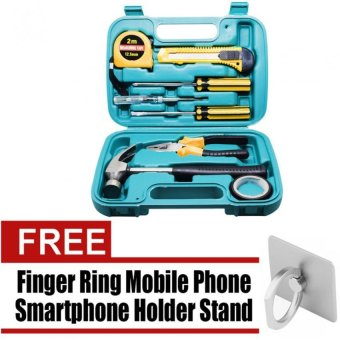 Wawawei 9pcs Professional Hardware Tools Set Accessory Repair HomeTool-Box Kits Case with free 360 Degree Finger Ring Mobile PhoneSmartphone Holder Stand for iPhone PDA MP4 Ebook (Silver)