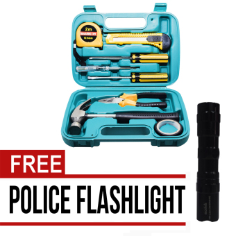 Wawawei 9pcs Professional Hardware Tools Set Accessory Repair HomeTool-Box Kits Case with Free Mini Police Flashlight