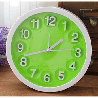 Wawawei Child Home Mini Candy Color Round Face Silicone DigitalAlarm Clock(Green)