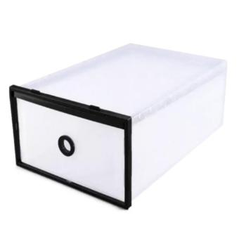 Wawawei Foldable Plastic Transparent Drawer Case Shoe StorageOrganizer Stackable Box (Black)