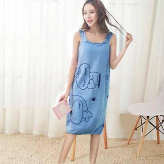 Wearable Fast Drying Towel Bathrobe Bath Dress (Blue)