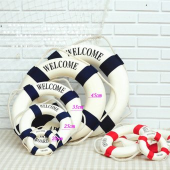 Welcome Red Nautical Wall Decor Ship Boat Ring Life Buoy Preserver 35cm