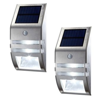 Welink 2Pcs LED Solar Powered Motion Sensor Super Wall Mount- LightDeck-Stainless Steel (Silver)