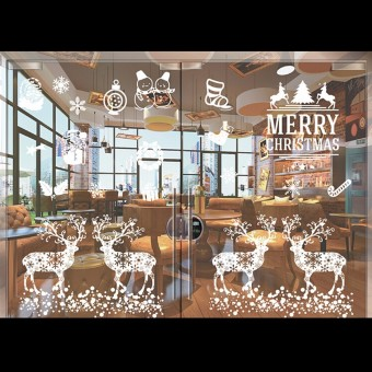 White Christmas Santa Removable Art Window DIY Wall Sticker Deer