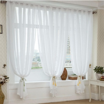 White Faux Linen Yarn Curtain Tulle Sheer Curtains Net Curtain Window Panel for Living room Bedroom Kitchen Balcony - intl