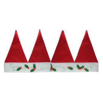 Whyus Christmas Santa Hat Home Festival Party Window Valance Curtain Pennant Decor - INTL
