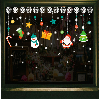 Window decoration shop Christmas wall stickers glass adhesive paper