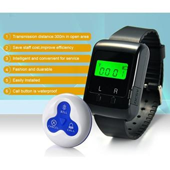 Wireless Patient Calling System Waiter Nurse Service calling PagerFor Restaurant Hospital Hotel Bar 1 pc Wearable Watch Receiver and10 pcs Waterproof Call Buttons - 5