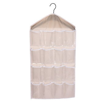 WiseBuy 16 Pockets Clear Door Hanging Bag Shoe Rack Hanger StorageCream-colored beige