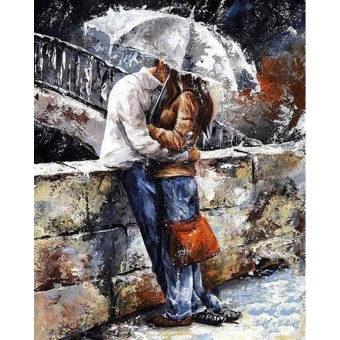 With Frame Kiss Lover DIY Painting By Numbers Kits Modern Wall ArtHand Painted Oil Painting On Canvas For Home Decor Artwork - intl