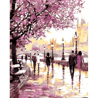With Frame Romantic Gardan DIY Painting By Numbers Landscape ModernWall Art Canvas Hand Painted Oil Painting For Home Decoration -intl