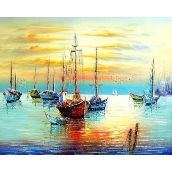 With Frame Sunset Boat DIY Painting By Numbers Seascape Modern WallArt Hand Painted Oil Painting On Canvas For Living Room Decor -intl