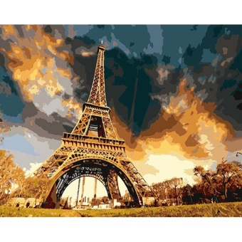With Frame The Eiffel Tower Landscape DIY Digital Painting ByNumbers Modern Wall Art Canvas Acrylic Picture For Home Decor 40x50- intl