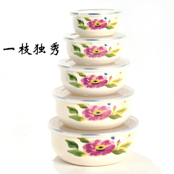With lid kitchen refrigerator freshness bowl enamel bowl