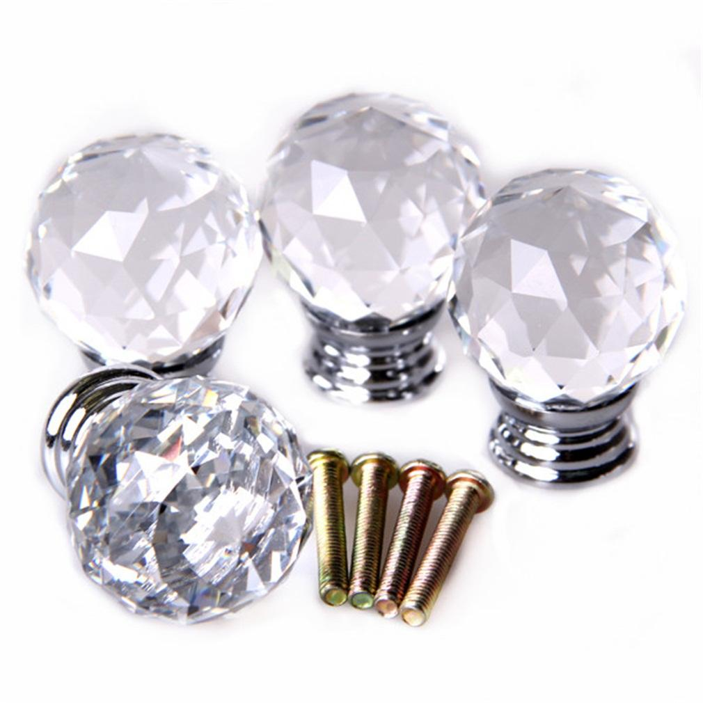 WOND 4pcs/set Crystal Glass Acrylic Door Knobs Drawer Cabinet Furniture  Handle Packclear   Intl Philippines