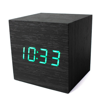 Wood Cube LED Alarm Voice Control Digital Desk Clock Wooden Thermometer - intl - 2