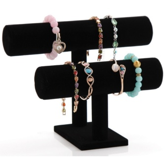 Wood Velvet 2 Layers Bracelet Stand Bangle Holder Jewelry DisplayWatch Rack Bracelet Shelf Jewelry Organizer Showcase - intl Price Philippines