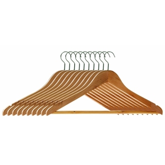 Wooden Clothes Hangers with Non-slip Grooved Bar 10-Pack