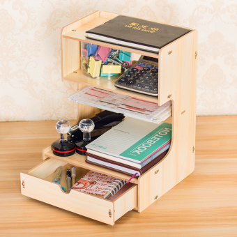 Wooden drawer-style multi-layer data shelf storage rack