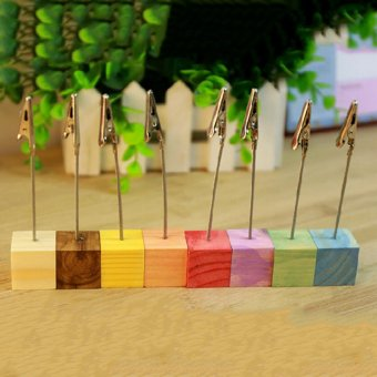 Wooden Memo Paper Note Picture Table Card Number Clip Holder Wood -intl