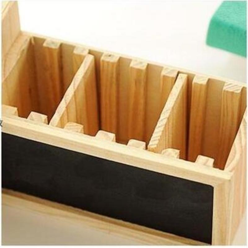 Wooden Pen Holder With Blackboard Cute Desktop Pencil Kawaiidesk Tidy Organizer Pot Creative Office