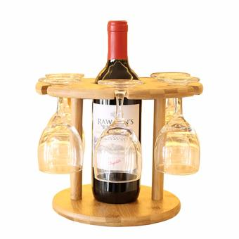 Wooden Removable Red Wine Holder and Goblet Rack Bamboo Cups MugsDrying Hanging Stand - intl