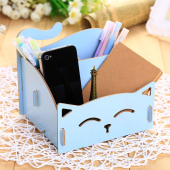 Wooden Storage Box For Jewelry Organizer For Cosmetics Cute CatOffice Pen Box Container Desktop Storage Assembly DIY - intl