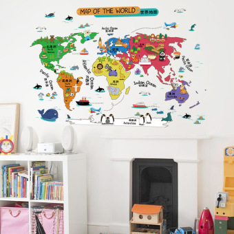 World Map Colored Decorative Removable Wall Stickers (Multicolor-5)