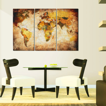 World Map Hanging On The Wall Canvas Triple Decor 45Cm X 90Cm Sizel - intl - 3