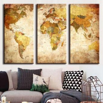 World Map Hanging On The Wall Canvas Triple Decor 45Cm X 90Cm Sizel - intl