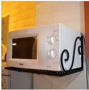 Wrought iron electric rice cooker wall hangers kitchen shelf microwave oven rack