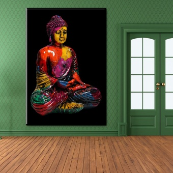 xh2051 colorful buddha canvas wall art pictures for living roomdecor art paintings unframed 18x12inch(45x30cm) - intl