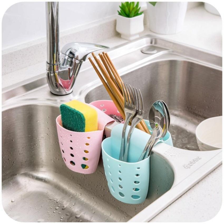 Xiyoyo Kitchen Sponge Holder Suction Storage Bag Cups Organizerhangingdouble Side Sink Water Drain Racks Pink