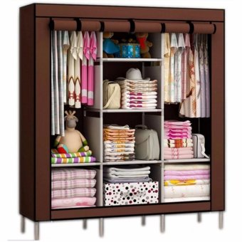 XZY 88130 Fashion High-capacity Cloth Storage Wardrobe (Brown)