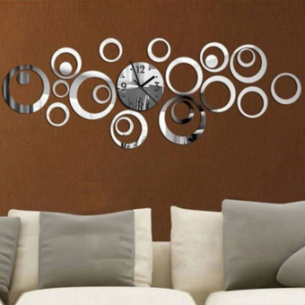 YBC 3D DIY Circle Acrylic Mirror Wall Clock Wall Decal Art Sticker Silver