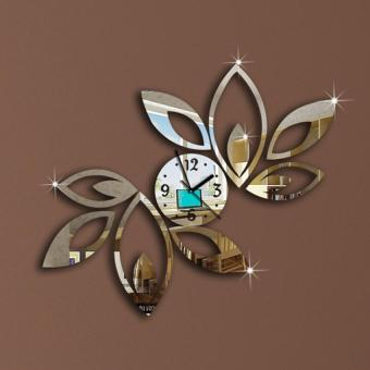 YBC Fashion Lotus Flower Mirror Wall Clock For Bedroom Silver - Price Philippines