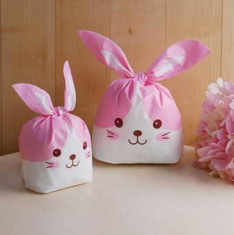 Yellow&Pink Rabbit ear cookie bags plastic candy BiscuitPackaging Bag Wedding Candy Wrapper Gift Bags 100PCS - intl