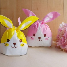 Yellow&Pink Rabbit ear cookie bags plastic candy BiscuitPackaging Bag Wedding Candy Wrapper Gift Bags 100PCS/