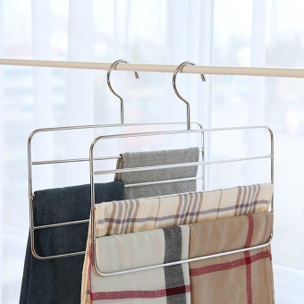 YH home wardrobe four layer does not rust steel pant rack
