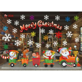 YingWei Christmas Window Stickers Wall Sticker Christmas SantaClaus Glass Windows Transparent Film Wall Stickers Shop Home DecalDecor #804 - intl