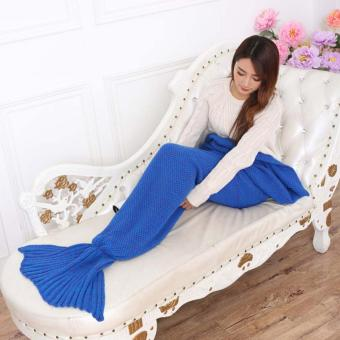 YingWei Mermaid Tail Blanket Crochet Mermaid Blanket for BabyInfant Kids Sofa Quilt Living Room Bedroom Camping Warm Soft AllSeasons Seatail Sleeping Bag Blanket Sleeping Throws 90 * 50cm(Dark Blue) - intl - 3